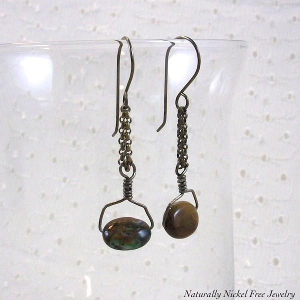 African Copper Green Opal Chain Dangle Earrings - product images  of