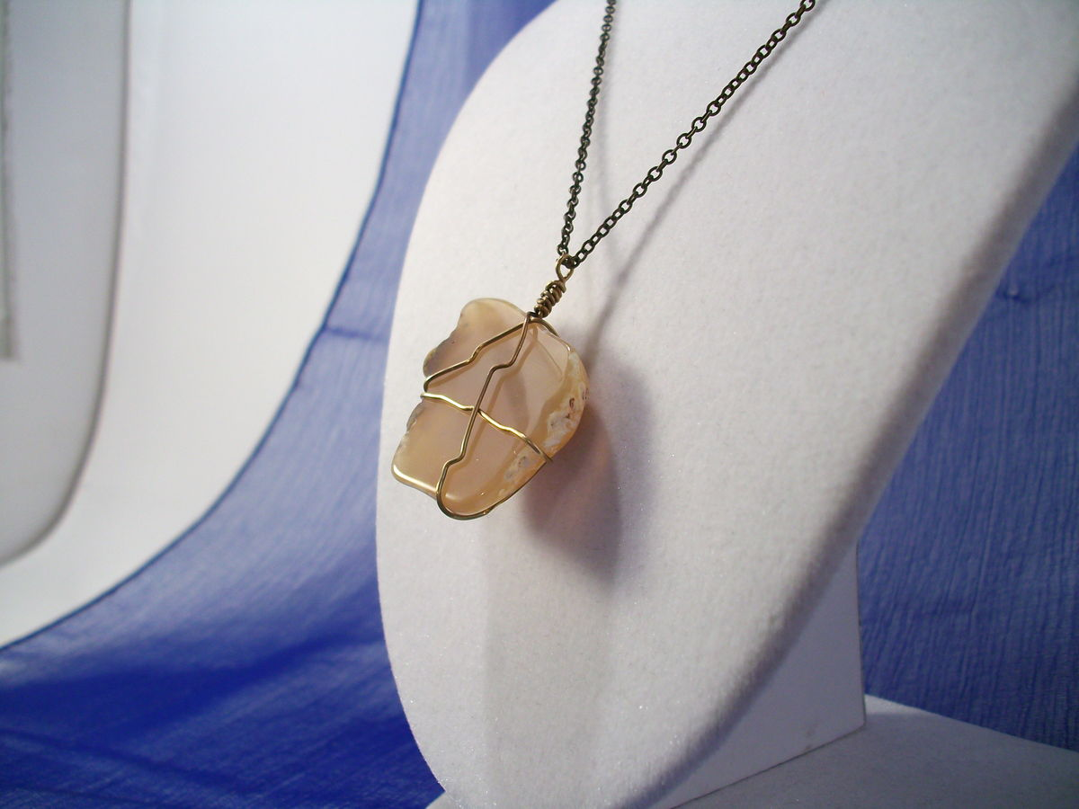 Rough Agate Necklace with Wire Wrap and Brass Chain - product images  of