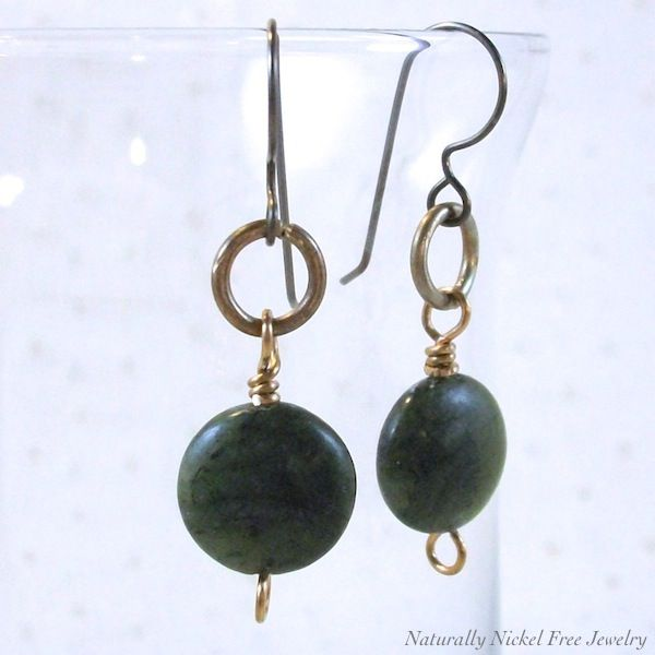 Canadian Jade Dangles with Brass Jump Ring - product images  of