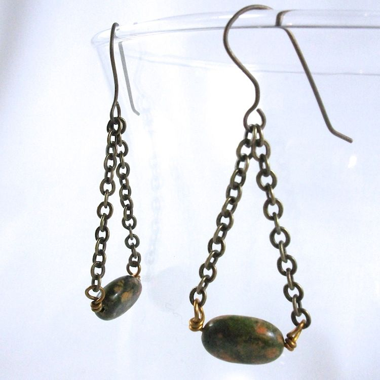 Unakite Bead Swing Dangle Chain Earrings  - product image