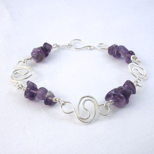 Amethyst Bracelet with Argentium Sterling Silver Spiral Chain - product images  of