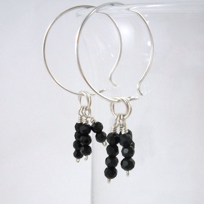 Argentium Sterling Silver Hoop Earrings with Faceted Black Bead Tassel - product image