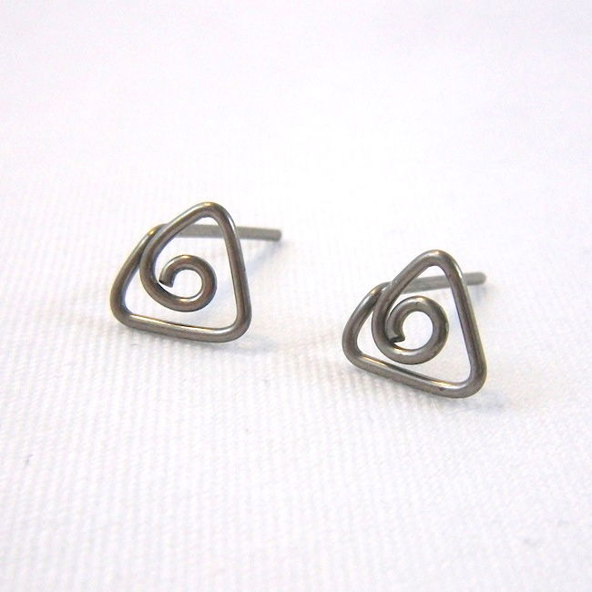Triangle Spiral Niobium Wire Post Earrings, Choose Your Color - product images  of