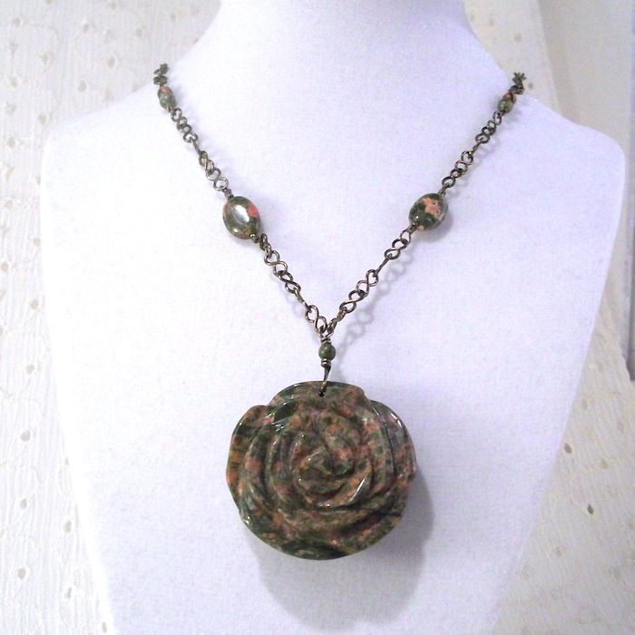 Unakite Rose Necklace with Niobium Handmade Chain - product image