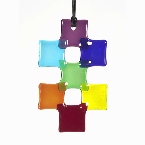 Rainbow,Chakra,'Double-cross',fused-glass,suncatcher,inspired-glass, fused-glass, suncatcher, chakra, cross, double-cross, rainbow