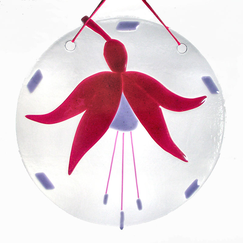 Fused Glass Fuchsia suncatcher - two sizes - product images  of