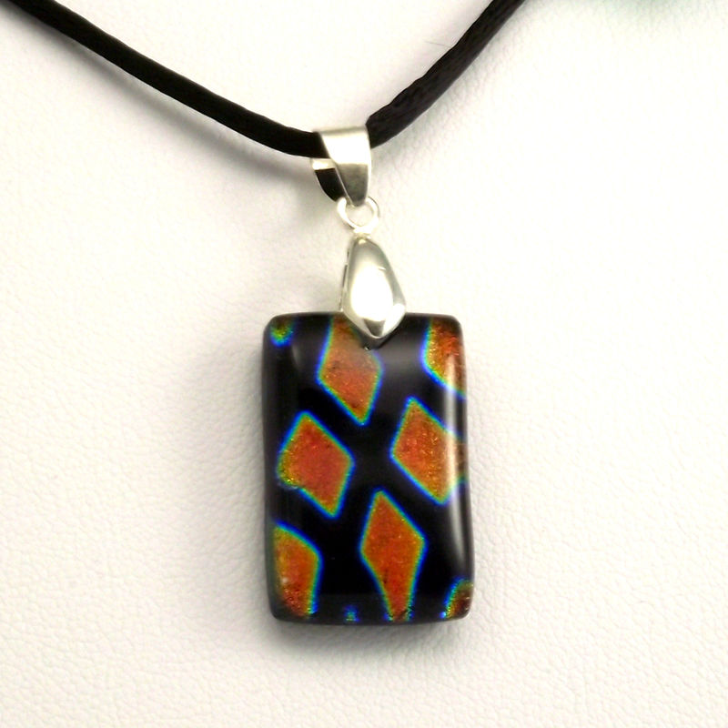 Fused-glass orange diamonds dichroic pendant - product image