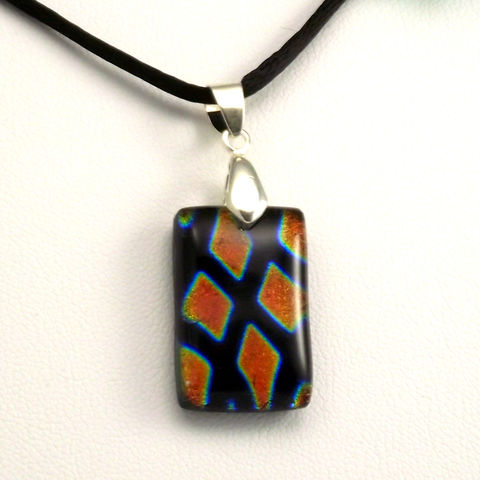 Fused-glass,orange,diamonds,dichroic,pendant,inspired-glass, dichroic, glass, pendant