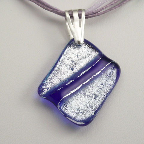 Fused-glass,blue,and,sparkly,silver,dichroic,pendant,inspired-glass, dichroic, glass, pendant