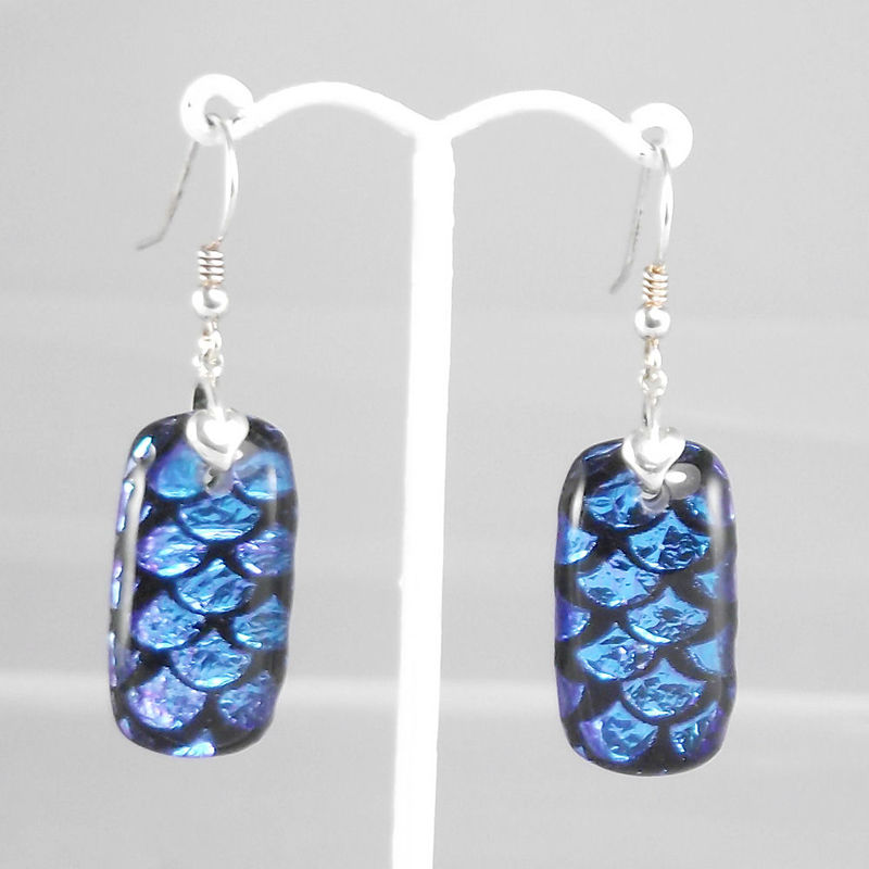Blue 'fan' - fused glass dichroic earrings - product image