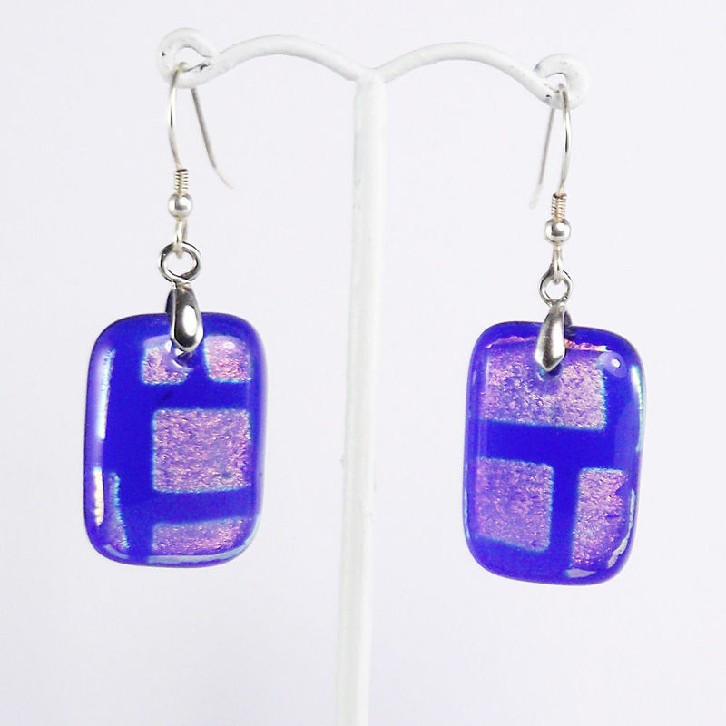 Blue and orange - fused glass dichroic earrings - product image