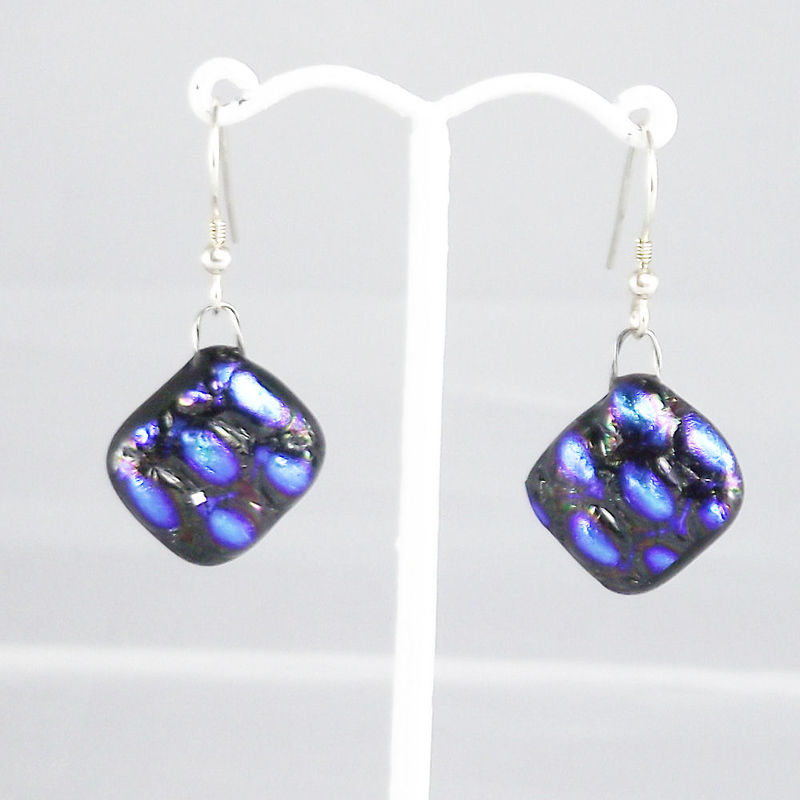 Blue / purple textured fused glass dichroic earrings - product image