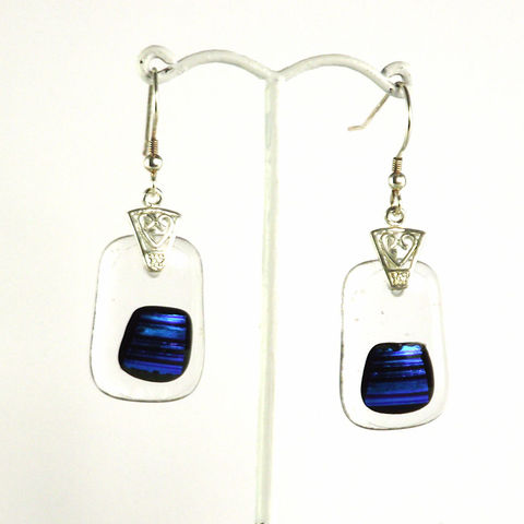 Blue,&,transparent,fused,glass,dichroic,earrings,inspired-glass, dichroic jewellery, drop earrings, handmade in west cork, ireland