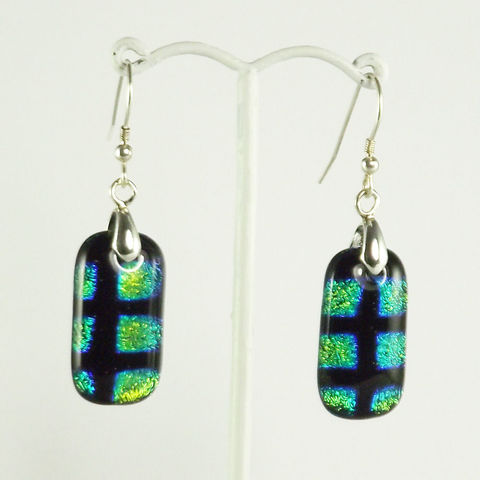 Green/blue,'rectangle',fused,glass,dichroic,earrings,inspired-glass, dichroic jewellery, drop earrings, handmade in west cork, ireland