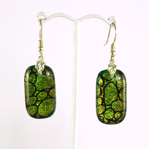Green/gold,'pebble',fused,glass,dichroic,earrings,inspired-glass, dichroic jewellery, drop earrings, handmade in west cork, ireland