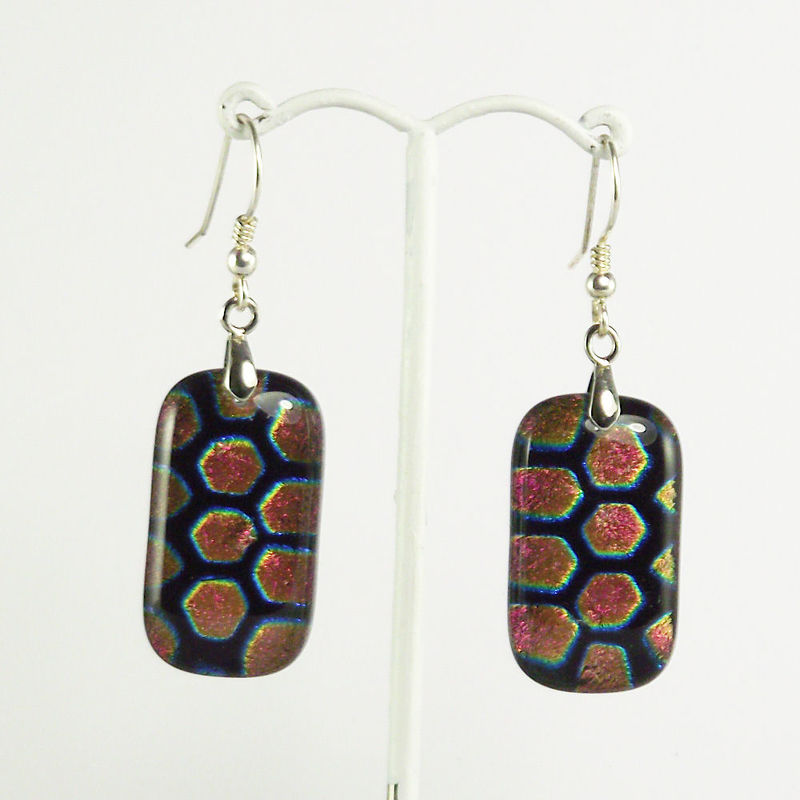 Pink 'hexagon' fused glass dichroic earrings - product image