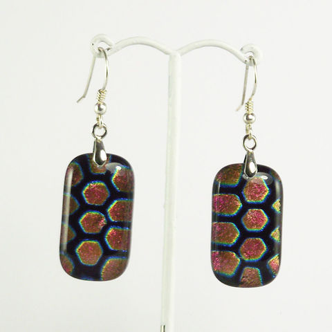 Pink,'hexagon',fused,glass,dichroic,earrings,inspired-glass, dichroic jewellery, drop earrings, handmade in west cork, ireland