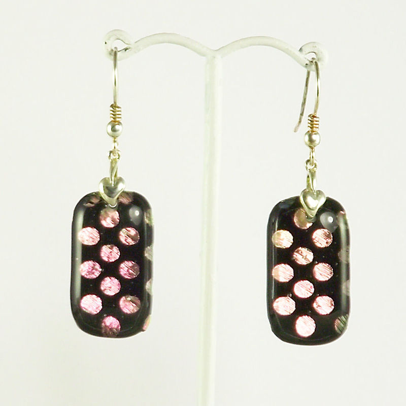 Pink 'polka-dots' fused glass dichroic earrings - product image