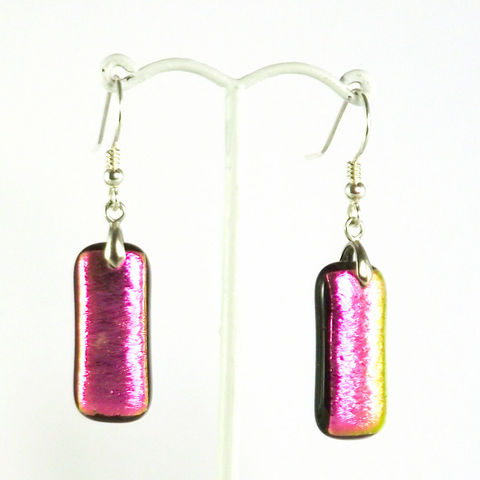 Pink/gold,'satin',fused,glass,dichroic,earrings,inspired-glass, dichroic jewellery, drop earrings, handmade in west cork, ireland