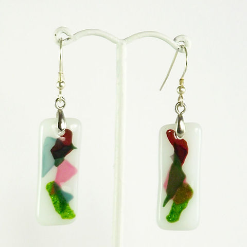 White,'confetti',fused,glass,earrings,inspired-glass, dichroic jewellery, drop earrings, handmade in west cork, ireland