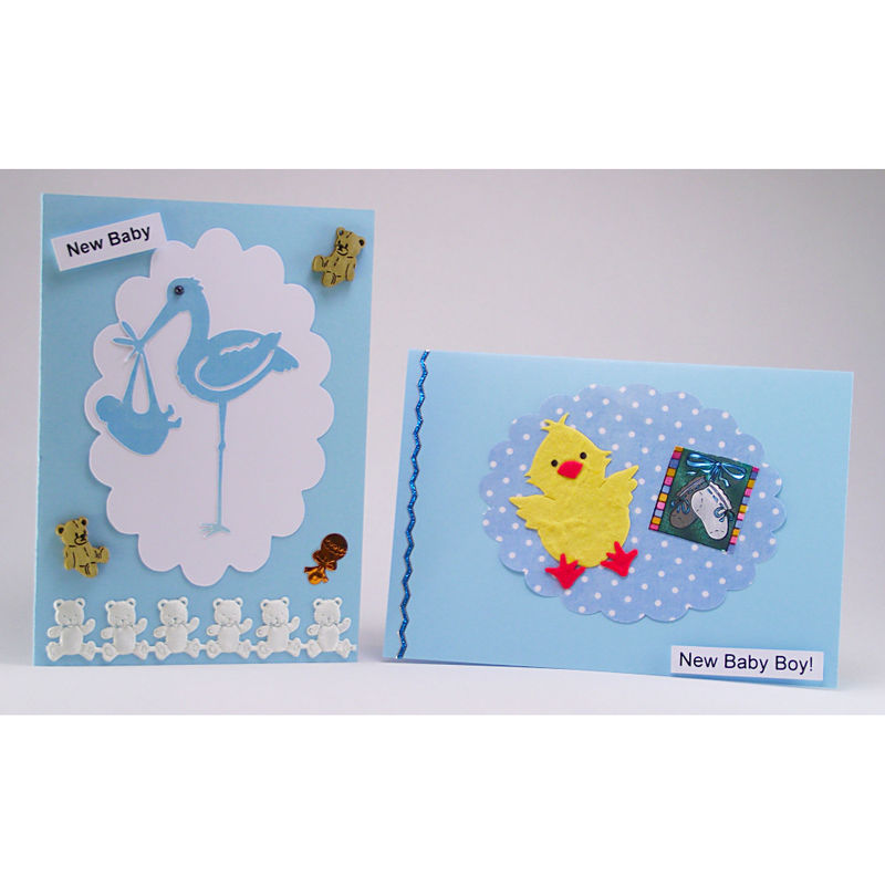 Two handmade 'new baby boy' cards - product image