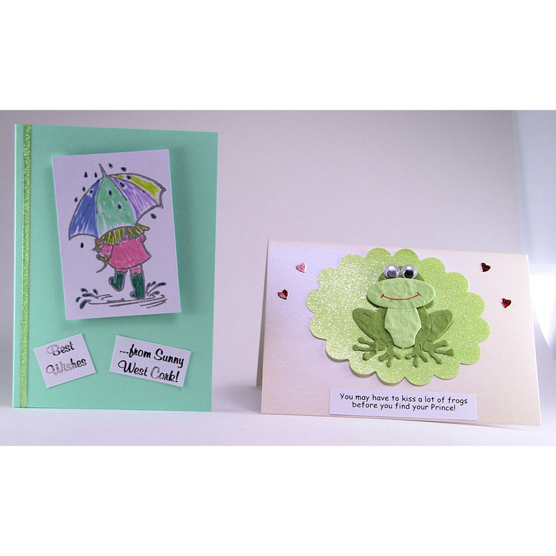 Two handmade 'Sunny West Cork' and 'Kiss a lot of frogs' cards - product image
