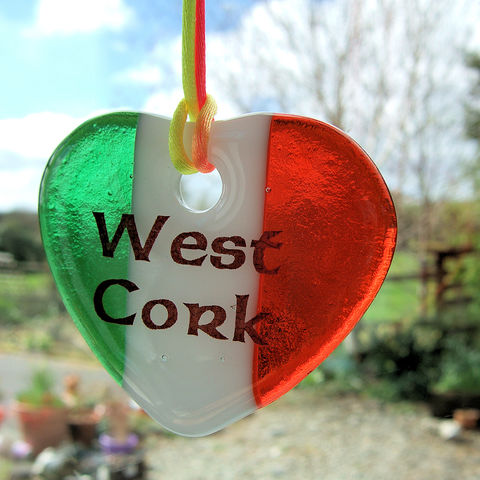 Fused-glass,tricolour,West,Cork,heart,suncatcher,inspired-glass, stained-glass, small fused glass West Cork tricolour heart, suncatcher heart, west cork