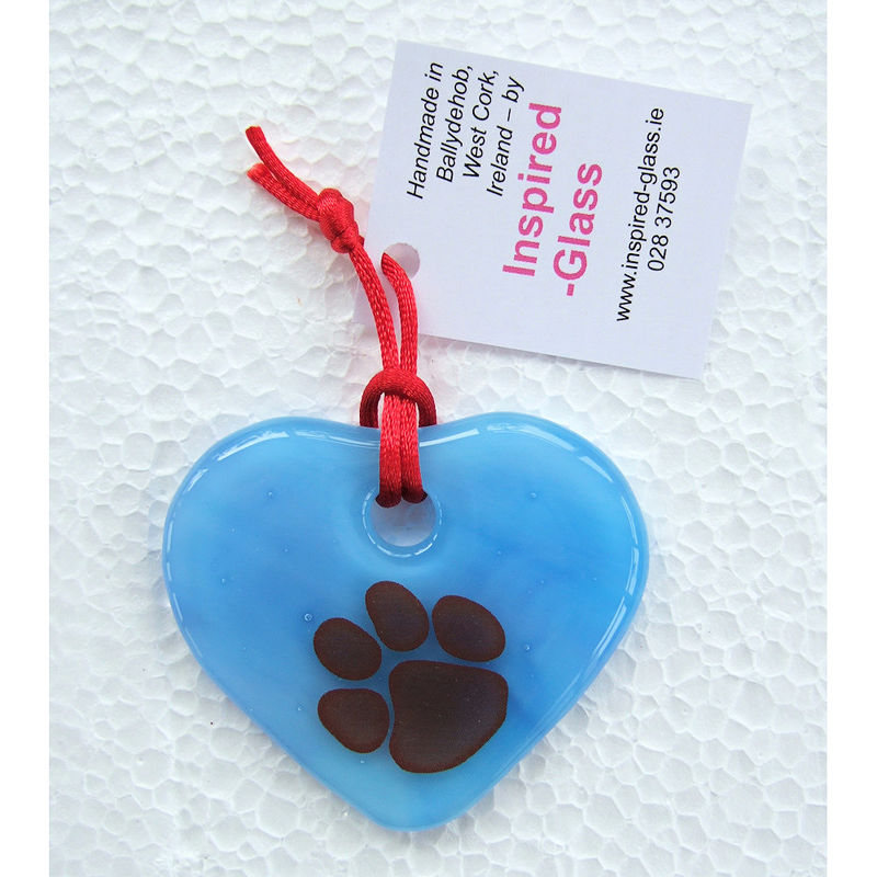 "Fused-glass WCAWG ""Pawprint"" heart suncatcher - 'opal' - various colours - product images  of"
