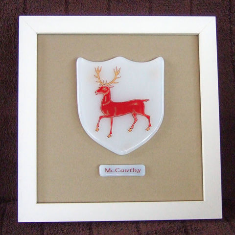 Bespoke fused-glass single framed family crest - product images  of