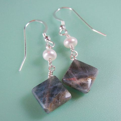 Labradorite,&,Pearl,Earrings, Labradorite, Sterling, Sterling Silver, Silver, Pierced, Pearl, Handcrafted,Gray