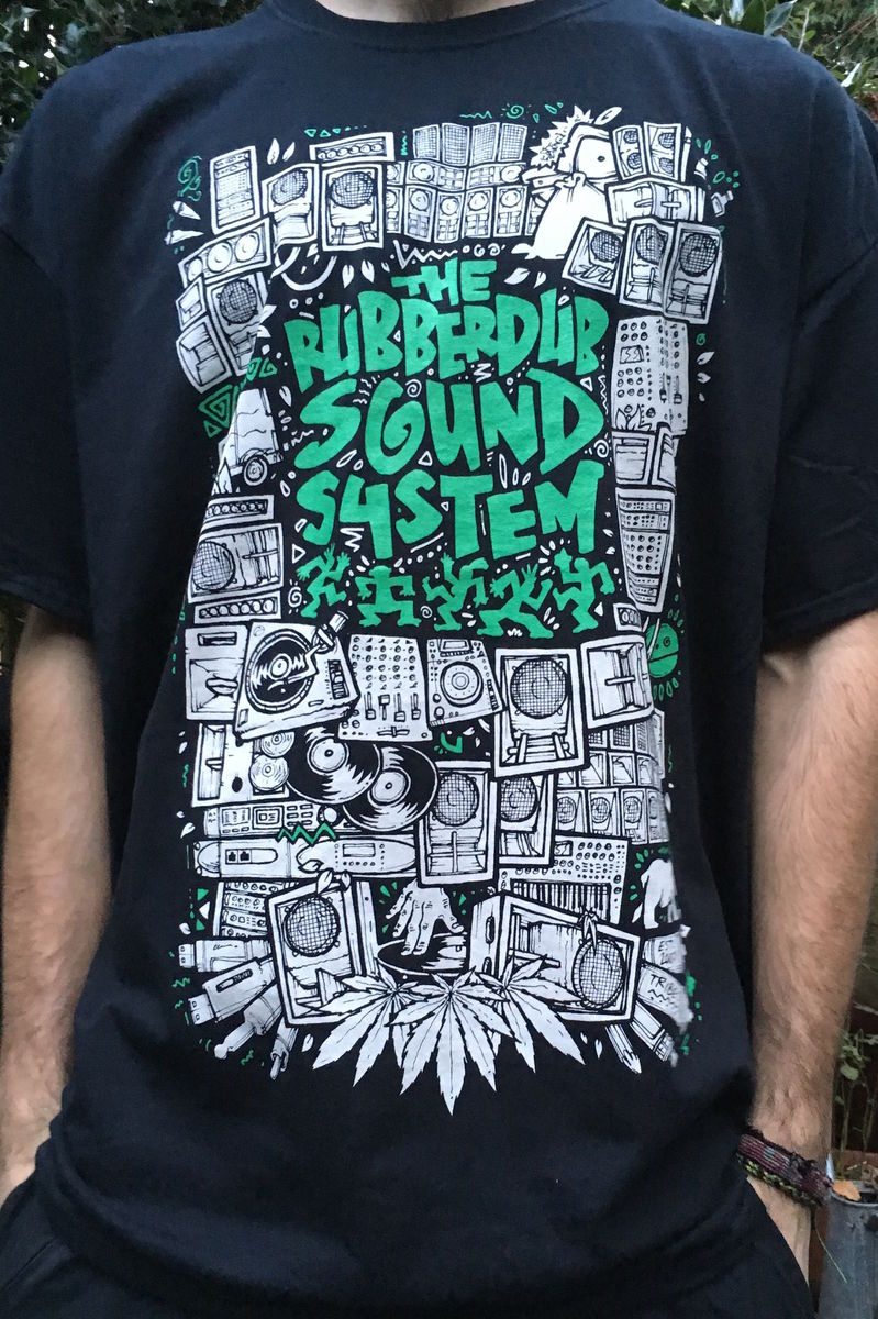 RubberDub SoundSystem Tee (BLACK N GREEN) - product image