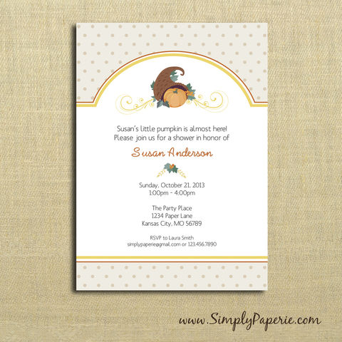 Fall,Pumpkin,Baby,Shower,Invitations,baby, shower, invitation, party, pumpkin, fall, cornucopia, polka dot, 5 x 7, The Artisan Group, orange, brown, tan