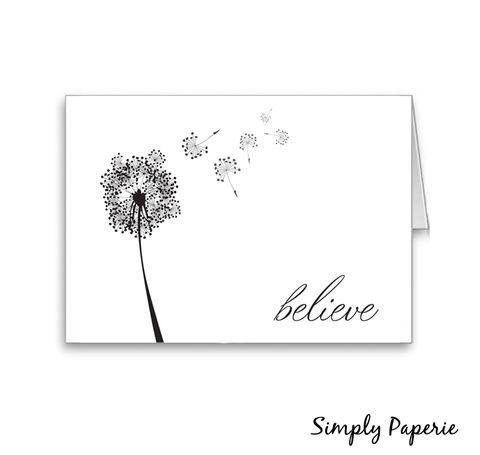 Believe,Cards,Paper Goods, Cards, modern, believe, thank you, foldover notecard, flower, black, white, dandelion, inspirational, card