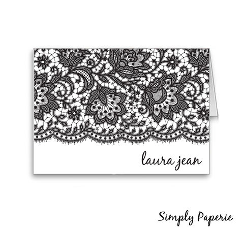 Black,Lace,Personalized,Stationery, blank, elegant, a2, 4.25 x 5.5, The Artisan Group, card, foldover notecard, personalized, name, monogram, custom, lace, black, white, pearl paper, shimmer paper, Chartreuse, silver, gold, gravel, khaki, lake, lilac, light blue, pool