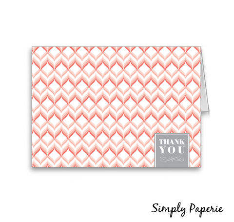 Sweet,Chevron,Thank,You,Cards,Paper Goods, Cards, modern, monogram, thank you, foldover notecard, wedding, pink, grey, thank you card, baby, custom