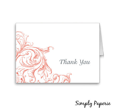 Vintage,Scrolls,Thank,You,Cards,Paper Goods, Cards, elegant, vintage, classic, scrolls, custom, wedding, The Artisan Group, tangerine, thank you card, foldover
