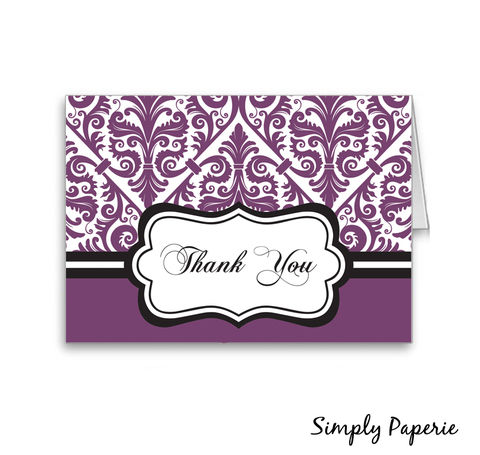 Damask,Thank,You,Cards,note, stationery, thank you card, purple, damask, elegant, classy, classic, black, The Artisan Group, plum, aubergine, foldover card