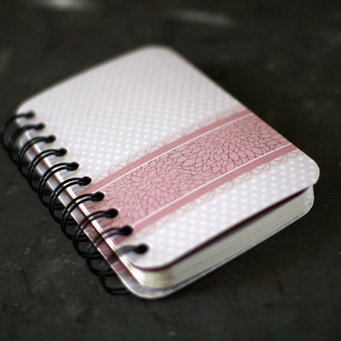 Pink,Floral,Band,Journal,-,Small,Featured,in,2012,Golden,Globes,Celebrity,Gift,Lounge,writing, Books, Journal, Notebook, book, blank, spiral, cute, pink, lace, lined, small, grey, polka dot, flower, The Artisan Group, swag bag, gift, gift lounge, gbk production golden globe celebrity gift lounge, celebrity