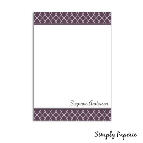 Purple,and,Grey,Personalized,Ribbon,Notecards,purple, grey, paper goods, personalized, swirl, pattern, print, classy, pretty, feminine, The Artisan Group, notecard, flat card, 5x7, a7