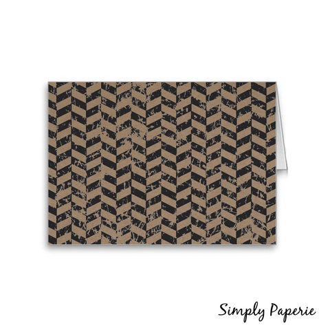 Herringbone,and,Kraft,Notecards,Paper Goods, Cards, Blank, herringbone, distressed, foldover, modern, casual, contemporary, notecard, note, The Artisan Group, trendy, kraft paper, brown, black, small, 4 bar, geometric print, graphic print, male, masculine, man