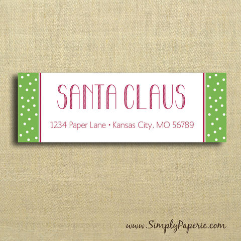 Holiday,Polkadot,Return,Address,Labels,Address Label, Return address sticker, label, Sticker, address, green, scarlet, crimson, red, holiday, polka dot, stripe, candy cane, personalization, pattern, fun, child, children, family