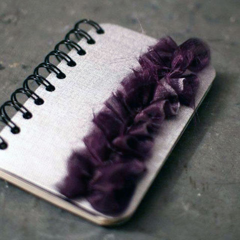 Silver,Journal,with,Purple,Ruffle,-,Small,Featured,in,2012,Golden,Globes,Celebrity,Gift,Lounge,writing, Books, Journal, Notebook, book, blank, spiral, cute, lined, small, grey, purple, plum, eggplant, rhinestones, silver, organza, ruffle, The Artisan Group, swag bag, gift, gift lounge, gbk production golden globe celebrity gift lounge, celebrity, C