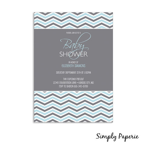Grey,Chevron,Baby,Shower,Invitations,baby, shower, invitation, party, chevron, grey, blue, yellow, pink, green, modern, trendy, 5 x 7