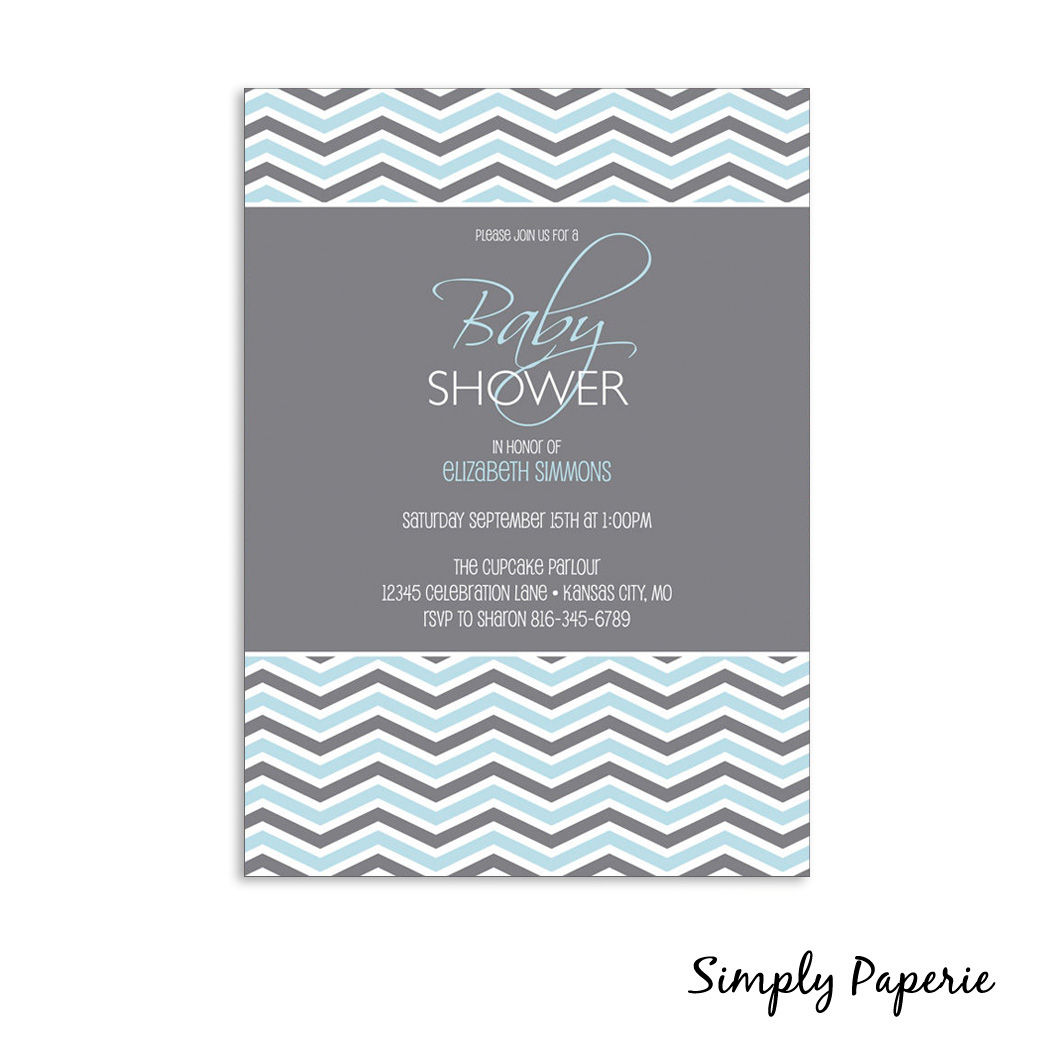 Grey Chevron Baby Shower Invitations Simply Paperie