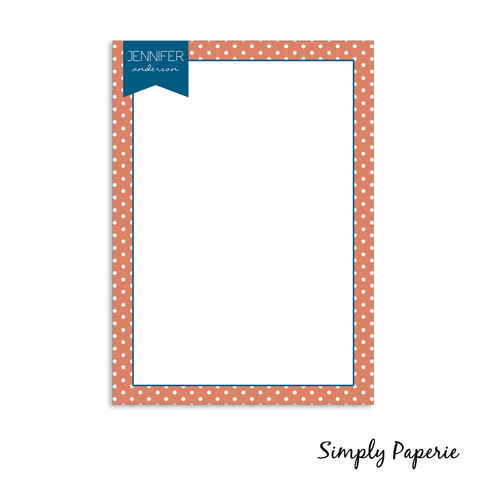 Personalized,Banner,PolkaDot,Notecards,orange, blue, polka dot, navy, paper goods, personalized, pattern, print, fun, pennant, banner, playful, classic, custom, The Artisan Group, notecard, flat card, 5x7, a7