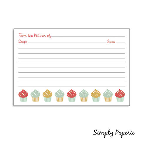 Cupcake,Recipe,Cards,recipe card, cupcakes, pink, green, teal, aqua, red, sweets, paper goods, personalized, kitchen, fun, playful, classic, custom, The Artisan Group, notecard, flat card, 4x6