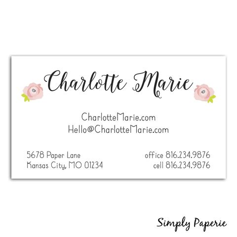 Rose,Calligraphy,Business,Cards,Paper Goods, business card, calling card, rose, calligraphy, pink, small business owner, creative, mom, blogger, custom, personalized, name, The Artisan Group, painted