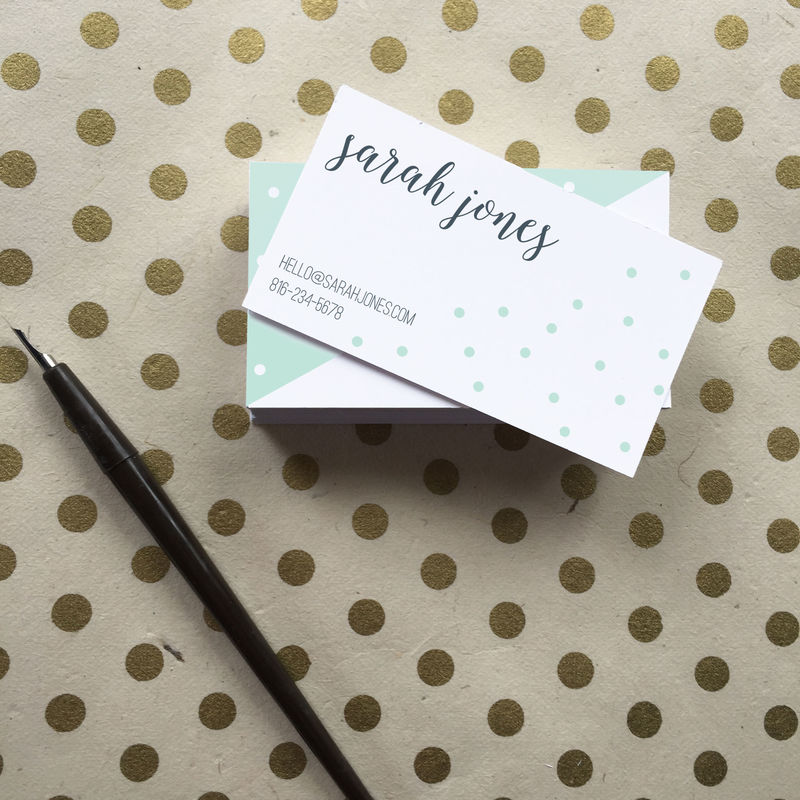 Mint Dot Calligraphy Business Cards - product images  of
