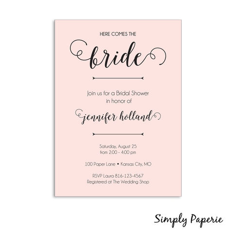 Here,Comes,the,Bride,Shower,Invitation, Wedding, Shower, Bridal, garden party, baby, pink, peach, flower, bouquet, celebration, party, bride