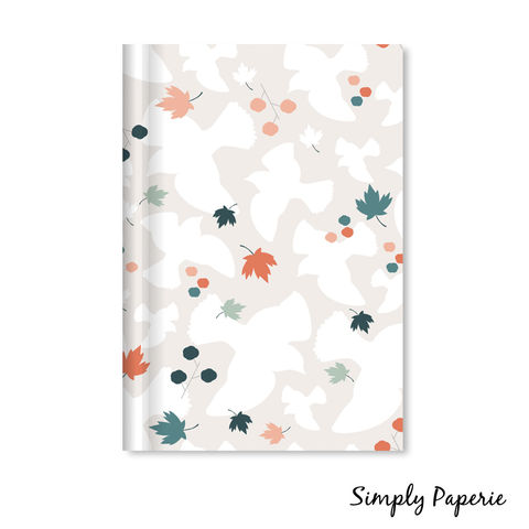 Fall,Flight,Notebook,notebook, perfect bound, lined pages, 5x8 inches, soft cover, fall, birds, leaves, pattern, surface pattern design, orange, green, grey, teal